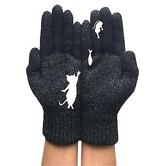 (Colore:Nero) Donne Inverno Caldo Full Finger Guanti Carino Gatto Animale Maglia Guanti Caldi Guanti