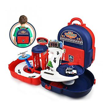 2 In1 School Bag Diy City Police Station Helicopter Car Racing Track Engineering Vehicle Fire Truck Backpack Toys For Boys Gifts