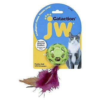 JW Pet Cataction Feather Ball Toy With Bell Interactive Cat Toy  - 1 count
