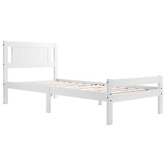 White Solid Wooden Single Bed Frame Adults, Kids, Teenagers