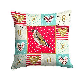 Pillows carolines treasures ck5512pw1414 gold finch love fabric decorative pillow