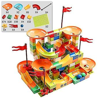 Marble track sets age 7+ building blocks marble race run city building block toys for children and racing 154 multi
