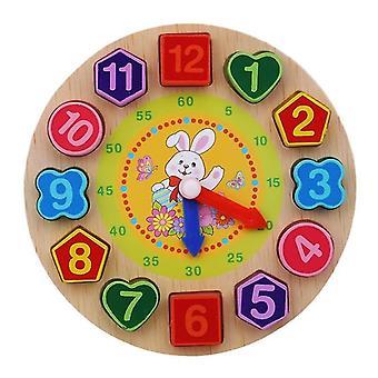 Montessori cartone animato animale educativo in legno perla geometria orologio puzzle per bambini 5+(Coniglio