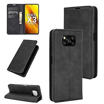 Case For Xiaomi Poco X3/x3 Nfc Premium Leather Magnetic Closure Black