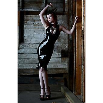 Gothpunk Black Pvc Exposed Breast Tight Skirt Sexy Nightclub Leather Skirt Mermaid Uniform