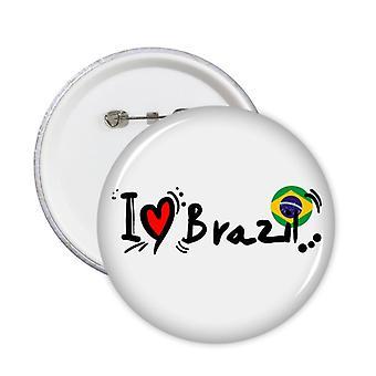 אני אוהב את לחצן תג דגל המילים של ברזיל 5pcs