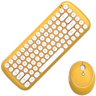 Mini bezdrátová klávesnice 2,4g Usb klávesnice a myš set, kulaté klávesy, vícebarevné roztomilé dívčí klávesnice... (žlutá)