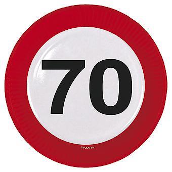 Party plate traffic sign number 70 birthday plates 8 PCs paper plates party