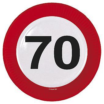 Il numero di segno di traffico della piastra di partito 70 compleanno piastre 8 pz carta festa piastre