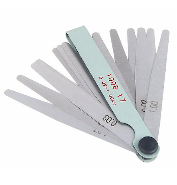 TRIXES Metric 17 Blade Steel Feeler Gauge 0.02-1.0mm Spark Plug Measuring Tool