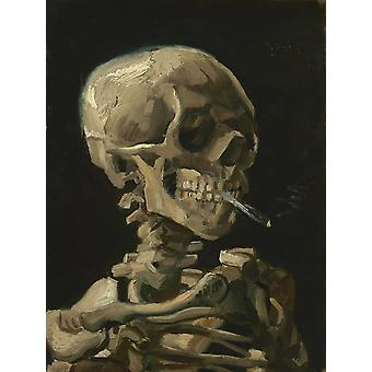 Skull of a Skeleton with Burning Cigarette painting by Vincent van Gogh 1886 Poster Print by John ParrotStocktrek Images