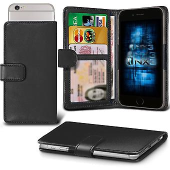 ONX3 Wiko Highway Star 4G Leather Universal Spring Clamp Wallet Case With Card Slot Holder and Banknotes Pocket-Black