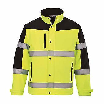 פורטווסט גברים Hi-Vis שני גוונים רך בטיחות בגדי עבודה ג'קט (3L)