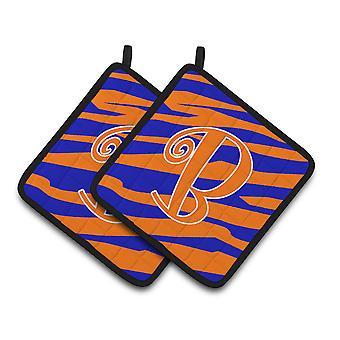 Monogram inledande B Tiger Stripe blå och Orange par grytlappar