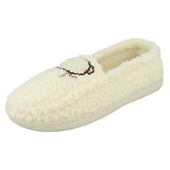 Ladies Jyoti Embroidered Sheep Slippers Louise W17-657 - White Textile - UK Size 4 - EU Size 36.5 - US Size 6