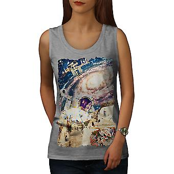 Galaxy Earth Cosmos naisten GreyTank Top | Wellcoda