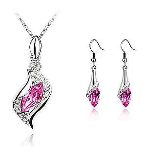 Womens Girls Beautiful Pink Stone Necklace And Earrings Jewelry Set