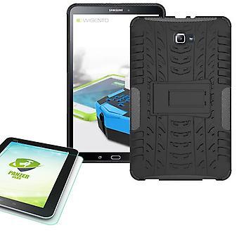 Υβριδική εξωτερική θήκη μαύρο για Samsung Galaxy Tab A 10,1 T580 + 0,4 σκληρυμένο γυαλί