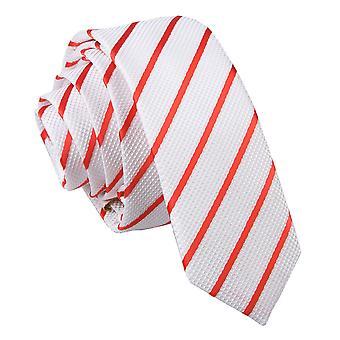 Valkoinen ja punainen yksi raita laiha solmio