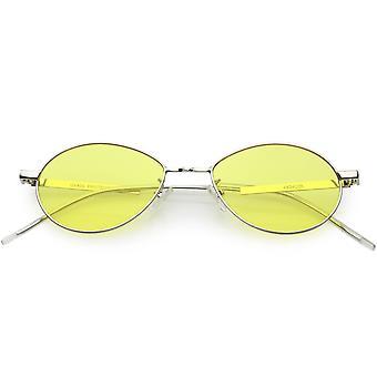 Owalne okulary Slim metalowe ramiona kolor przyciemnianych płaski obiektyw 51mm