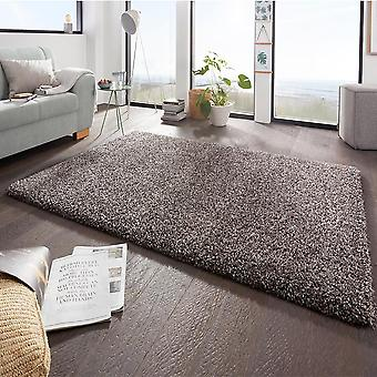 Design high pile carpet boutique grey-brown mix