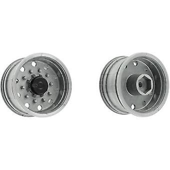 Carson Modellsport 1:14 Lkw Sattelanhänger Felgen 27,5 mm Kunststoff Euro Look Silber 1 Paar