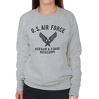 US Airforce Keesler AF Base Mississippi Black Text Women's Sweatshirt