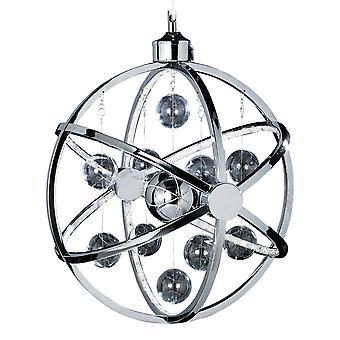 Endon belysning Muni 7,5 w ledde klart och krom glas Sphere hängsmycke ljus