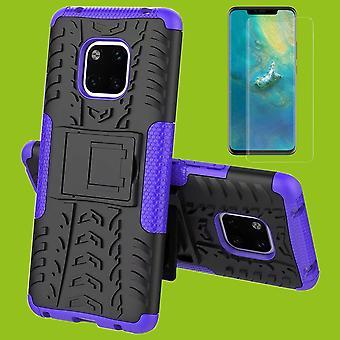 Huawei kompis 20 Pro hybrid tilfelle av 2 stykke lilla + 0.3 mm 4 d buet H9 full herdet glass bag coveret ermet