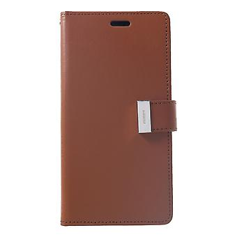 Mercury GOOSPERY Rich Diary for iPhone XS Max-Brown
