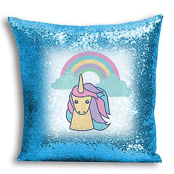 i-Tronixs - Unicorn Printed Design Blue Sequin Cushion / Pillow Cover with Inserted Pillow for Home Decor - 3
