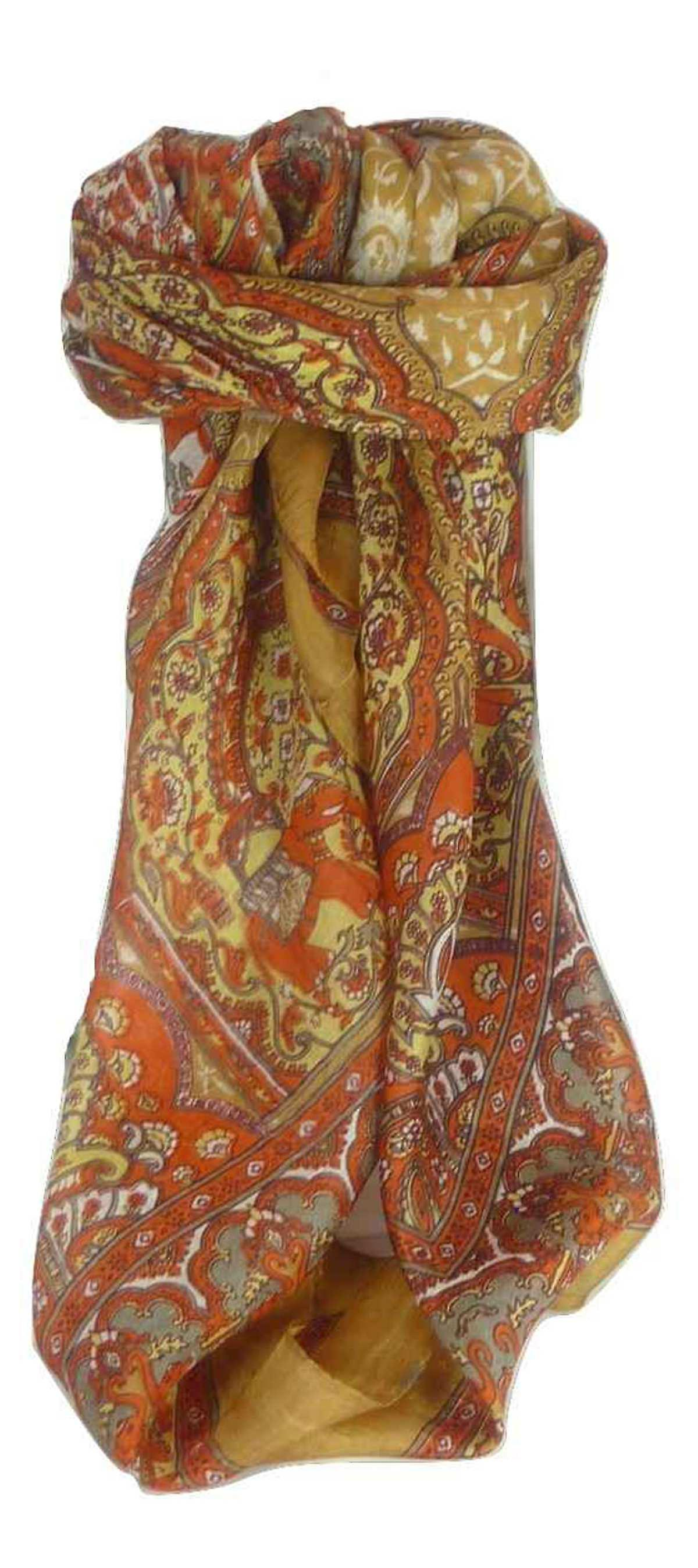 Mulberry Silk Traditional Square Scarf Patia Gold by Pashmina & Silk