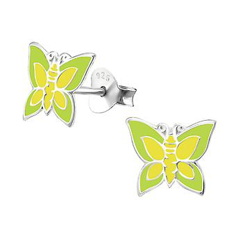 Butterfly - 925 Sterling Silver + Epoxy Colour Colourful Ear Studs - W11921x