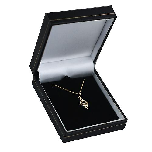 9ct Gold 16x11mm double Celtic Trinity knot Pendant with a curb Chain 20 inches