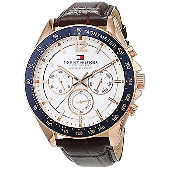 Tommy Hilfiger quartz 1791118 with multi-black dial and leather strap