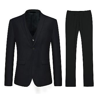 Allthemen preto Slim apto duplo Split masculino 3-Piece Suit