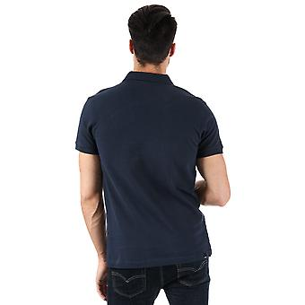 Mens Bench Classic Cotton Polo Shirt In Navy- Short Sleeve- Ribbed Cuffs And