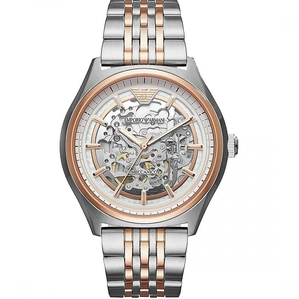 Armani Watches Ar60002 Meccanico Rose Gold & Silver Stainless Steel Men's Watch