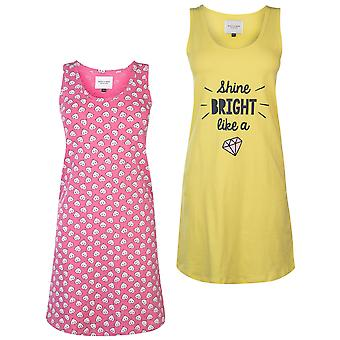 Rock and Rags Womens Dames Deux Pack Nightdress Scoop Neck
