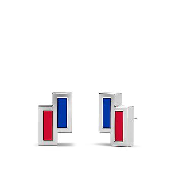 New York Rangers Sterling Silver Asymmetric Enamel Stud Earrings In Blue & Red