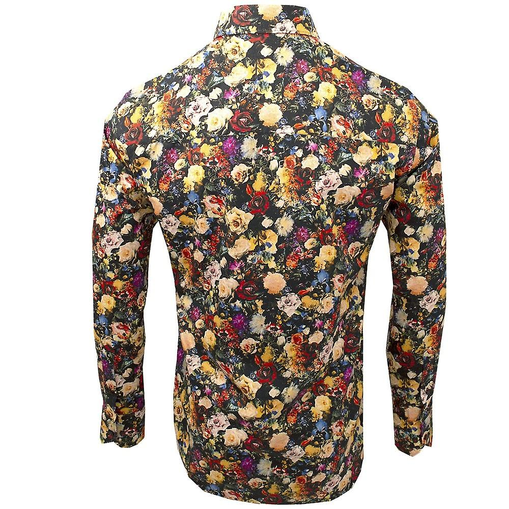 Claudio Lugli Black Floral Print Long Sleeve Pure Cotton Mens Shirt