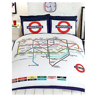 Cubierta de edredón de tubo subterráneo de Londres y juego de fundas de almohada