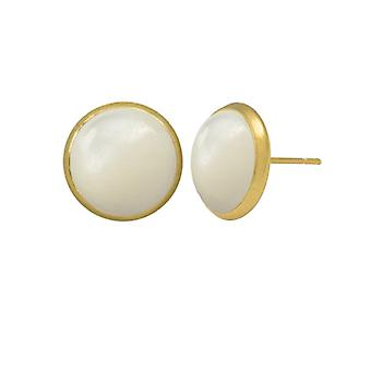 Eternal Collection Symphony Mother Of Pearl Gold Pierced Stud Earrings
