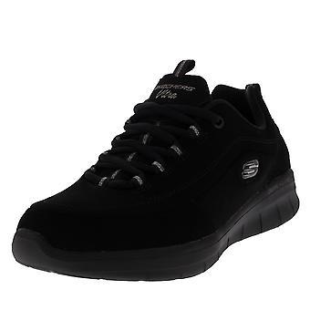 Womens Skechers synergie 2.0 marchepied latéral noir marche légers formateurs