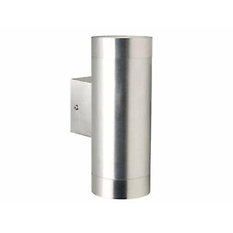 2 Light Outdoor Cylinder Up / Down Wall Light Aluminium Ip54