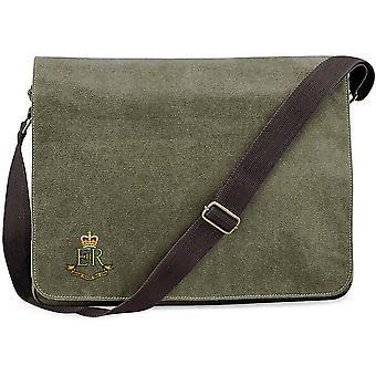 Militär Provost personal Corps-licensierade brittiska armén broderade Vintage canvas Despatch Messenger Bag