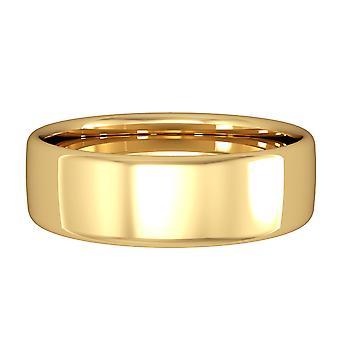 Κοσμήματα του Λονδίνου 18ct κίτρινο χρυσό-6mm βασική Bombe μπάντα σε σχήμα Δικαστηρίου δέσμευση/δαχτυλίδι γάμου