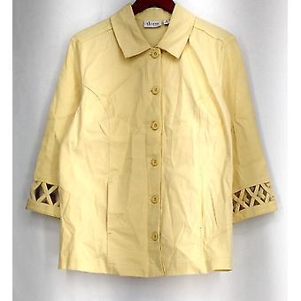 Denim & Co grunnleggende Jacket 3/4 ermet strekk twill m/gitter trim blek gul