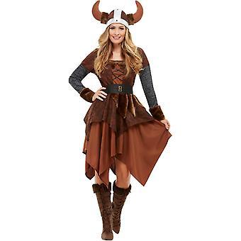 Viking Barbarian koningin kostuum dames bruin met jurk en helm vrouwen kostuum Barbarian koningin