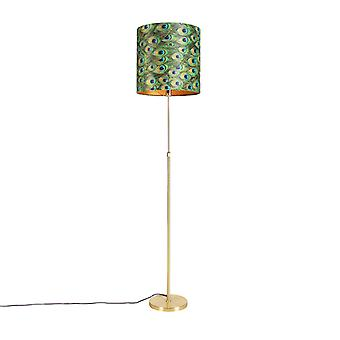 QAZQA Floor lamp gold / brass with velor shade peacock 40/40 cm - Parte